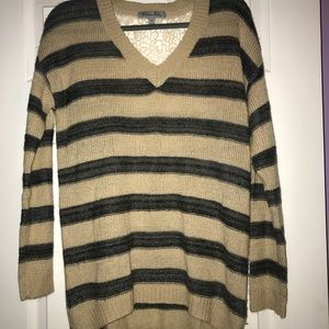 V-neck Striped Sweater with Lace Back
